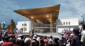 Artist's impression of the entrance to the Sir Howard Morrison Centre. Courtesy of Shand Shelton