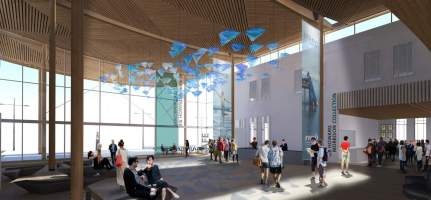 Artist's impression of the Sir Howard Morrison Centre Foyer. Courtesy of Shand Shelton